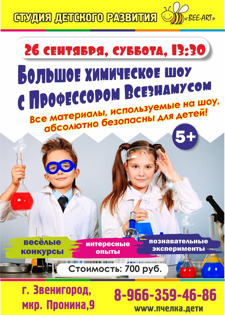 26 сентября в 13:00  — Большое химическое шоу